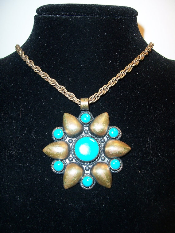 Vintage Bell Solid Copper Turquoise Pendant Necklace