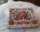 SMALL NEEDLEPOINT BAG with enamel and gold clasp and strap