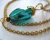 Glass Pendant Wire Wrapped Teal Rectangle Goldtone