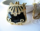 Vintage Purse Locket Art Deco Style Black Enamel Gold Trim and White Rhinestones