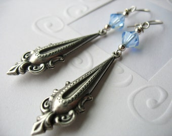 Drop Earrings, Scroll Design, Blue, Silver, Swarovski Crystal, Dangle Earrings, Antique finish