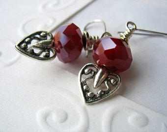 Heart Dangle Earrings Marsala Red Glass Handmade