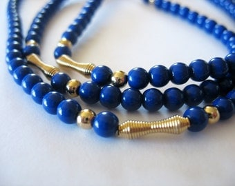 "Long Beaded Necklace, Royal Blue, Blue, Gold, Lucite, Single Strand, 36"" Long Length, 1970s"
