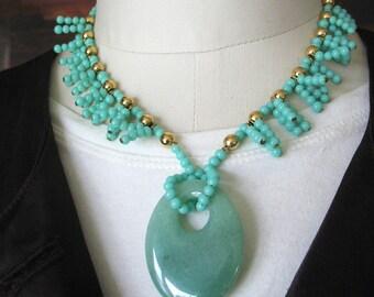 Aventurine Statement Necklace, Beaded, Gemstone Pendant, Fringe Necklace, Glass Beads, Mint Green, Pastel Green, Gold tone