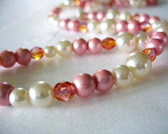 Pearl Necklace, Pink and White, Long length, Faux Pearl, Glass, Satin Finish, Single Strand