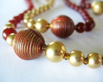 Beaded Necklace Brick Red and Gold Spiral Textural Long 1980's