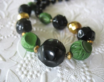 Germany Bead Necklace Green Black Gold 1940's