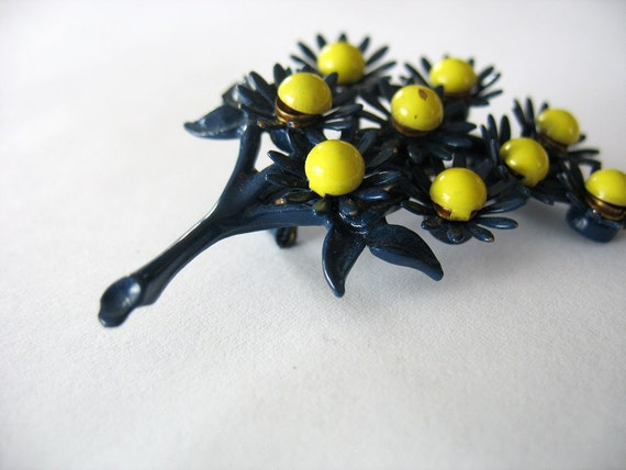 Vintage Enamel Flower Brooch Navy Blue and Bright Yellow Bouquet Unusual