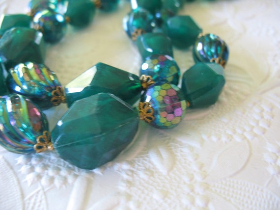 Vintage 1950's Beaded Necklace Two Strand Teal Aurora Borealis Swirls Choker Style