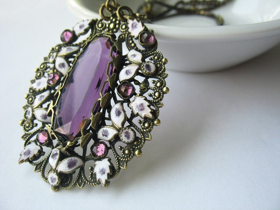 RESERVED Vintage Art Deco Pendant Czech Amethyst Glass Enamel Accents on Snake Chain Circa 1920