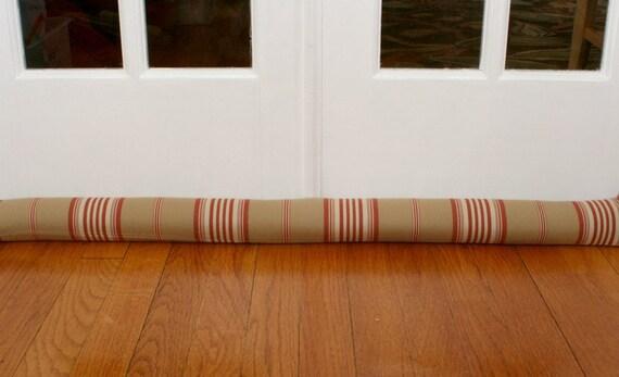 Door Draft Stopper, Door Snake, Sand, Red, Stripes. 119.