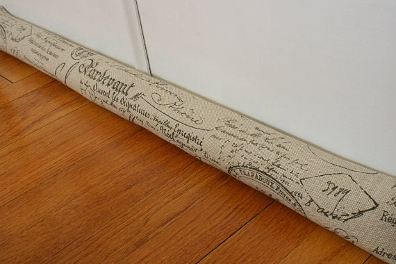 Door draft stopper draught excluder sand french script 167 for Door draft stopper