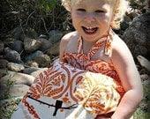 LAST ONE Size 2T Orange damask and bird halter dress/top