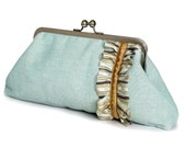 SALE Pale blue with ruffle clutch bag