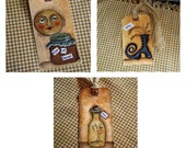 Halloween Primitive Folk Art Hangtags Set of 3  Hand Painted hang tags
