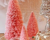 3 Large Pink Glitter BottleBrush Christmas Trees Plastic Stands - CottonRidgeEmporium