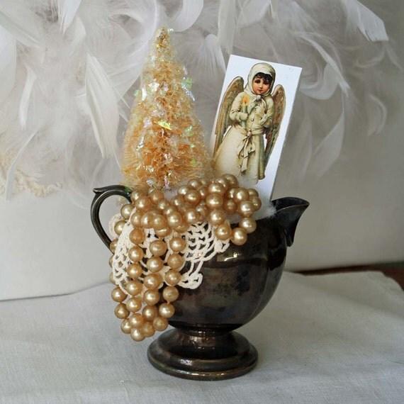 Christmas decor Vintage Silver Plate Creamer with Bottlebrush Tree
