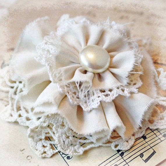 Handmade Flower Pin Brooch or Corsage Gift Topper