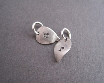 Tiny Silver Leaf Personalized Charms - Personal Charm - Hand Stamped - Monogram - Pendant