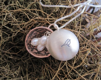 Bird Nest Necklace - Bird Nest Locket - Locket Necklace - Mother's Jewelry - Nest Egg Necklace - Hand Stamped - Meaningful Jewelry - Pendant