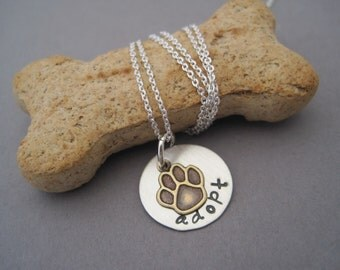Adopt a Dog Charm Necklace - Mixed Metal Necklace - Hand Stamped - Pet Adoption - Pet Lover Jewelry  - Personalized Necklace