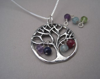 Tree of LIfe Celebrate Family Pendant with Semi Precious Birthstones - Family Jewelry - Personalized - Family Tree - Birthstone Necklace