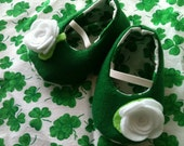 My Little Irish Rose Felt Shoes sizes 0-18 months perfect for St. Patty's Day