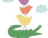 Jungle Nursery Art Print, Crocodile Nursery Print, Alligator Art, Art for Children, Stacked Animals, Baby Boy Jungle Nursery, Jungle Decor