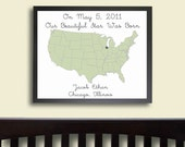 Nursery Art PRINT - Map Birth Announcement, Nursery Decor, Sage 11 x 14 Child Art, Baby Art, Kid Wall Decor