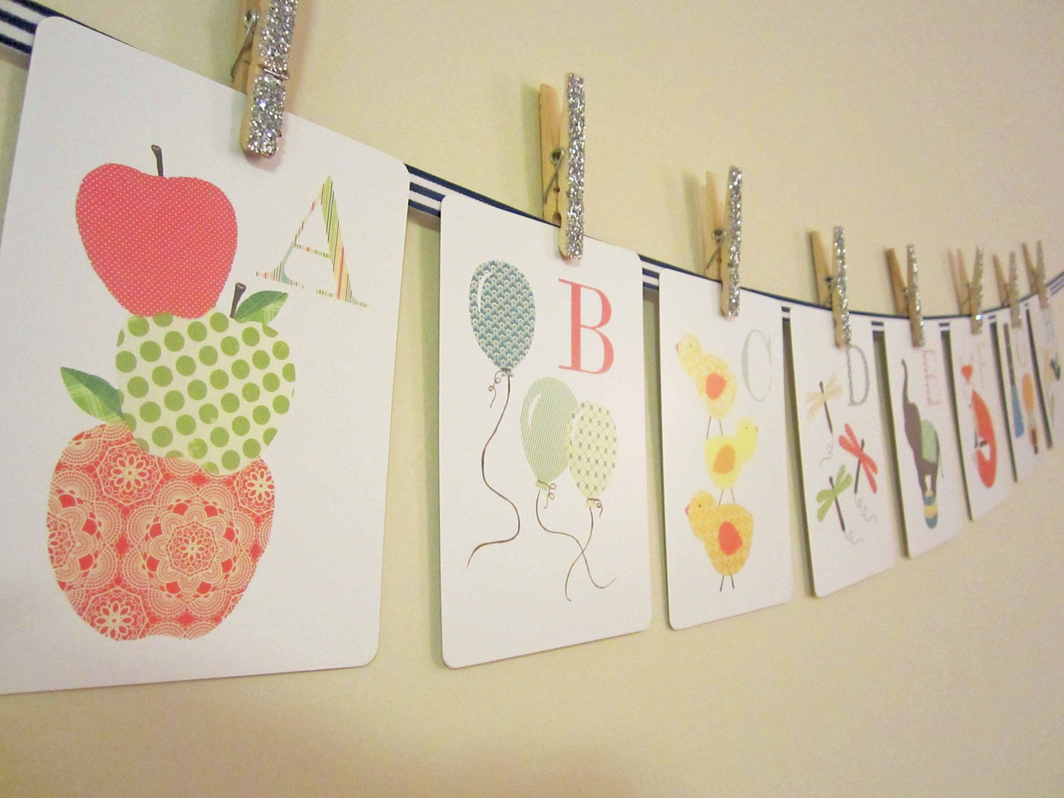 Alphabet Wall Decor Nursery : Alphabet nursery art