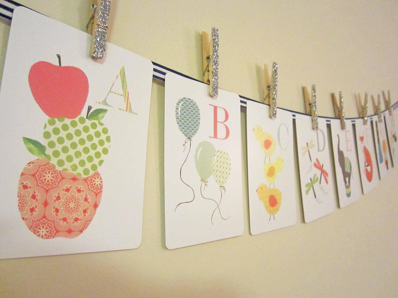 Alphabet Nursery Art Print Kids Wall Art Alphabet by justbunch