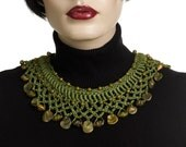 Crochet Necklace Neckpiece Fiber necklace Olive Green OOAK Polymer Beads Wearable Art