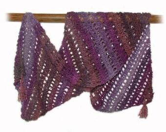 Crochet Scarf Wrap Shawl Stole Purple Mauve Dark Pink OOAK Wearable Art