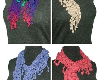 Crochet Scarf Pattern Lattice Mesh with Berry Bobbles Instant Digital PDF download