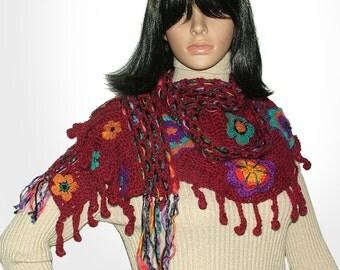 Red Scarf Wrap with Crochet Flowers Women's wide Floral scarf wrap OOAK Wearable Art