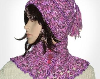 Crochet Beanie Pattern, crochet Cowl Scarf Pattern, PDF instant Digital download