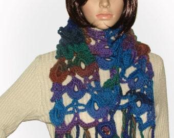 Crochet Scarf, Rainbow Crochet Scarf Crochet Lace Scarf Women's multicolor OOAK Scarf