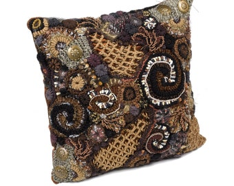 Decorative Pillow Cushion Cover Throw Pillow Chocolate Brown Freeform Crochet OOAK home decor