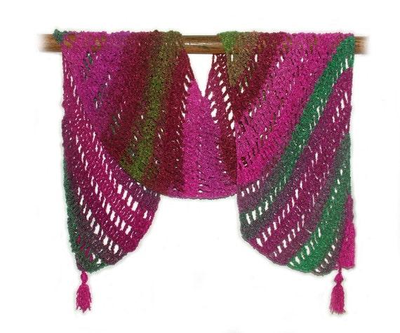 Crochet Scarf Wrap Shawl Stole in Pink & Turquoise OOAK