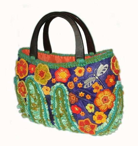 Floral Handbag Tote Carry bag Freeform Crochet OOAK