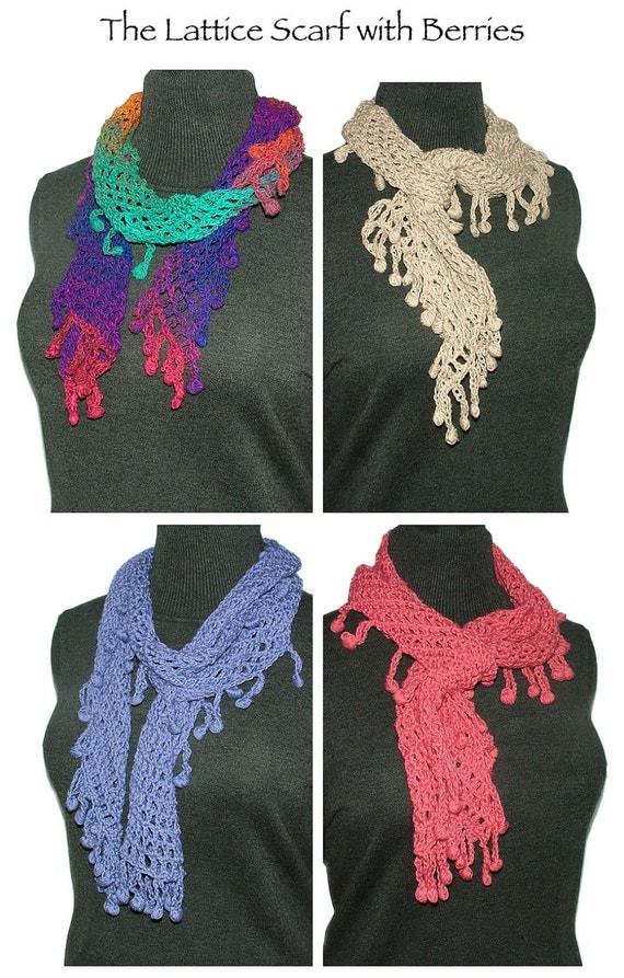Crochet Scarf Pattern Lattice Mesh with Berry Bobbles Instant Digital PDF download