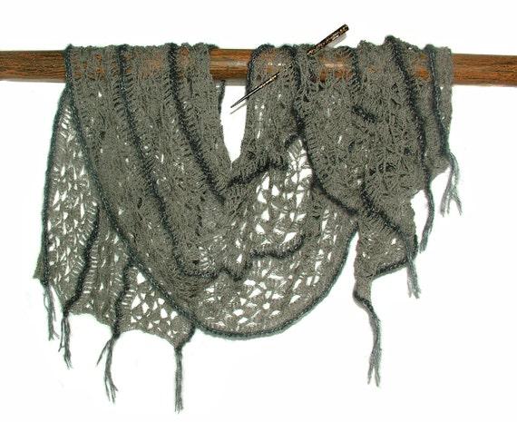 Crochet Lace Scarf Wrap Shawl Stole Long Wide OOAK Women's Freestyle crochet