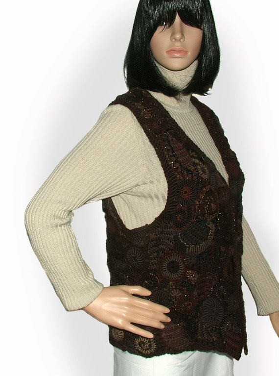 Womens Vest Chocolate Brown Freeform Crochet OOAK Wearable Art - Almost Midnight