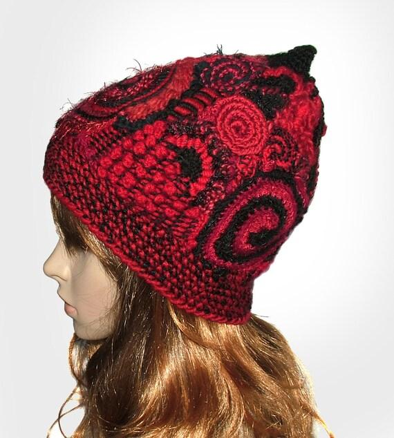 Red Black Freeform Crochet Hat Beanie OOAK Wearable Art
