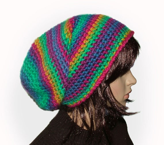 Rainbow large Slouchy Hat Beanie Rasta Tam Crochet
