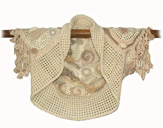 Womens Shrug Bolero Jacket Freeform Crochet Wearable Art, OOAK - Soft Toffee