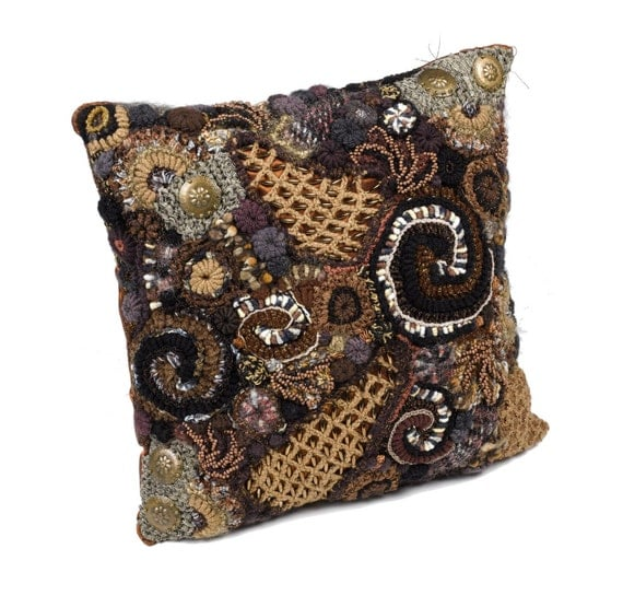 Throw Pillow Decorative Pillow Cushion Cover Chocolate Brown Freeform Crochet OOAK home decor