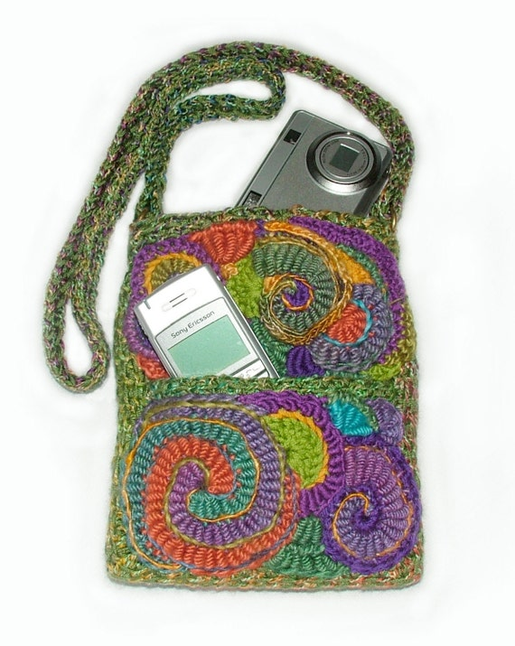 Camera Case Phone Case Purse Pouch OOAK Freeform Crochet