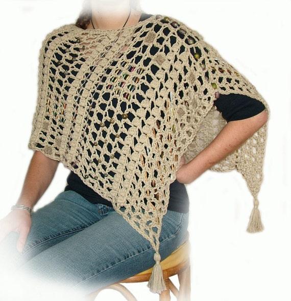 Easy Crochet Poncho Pattern Instant DIY Digital PDF download