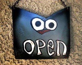 JUMBO Open and Closed Reversible Metal Sign -  Custom Animal Sign for Bathroom or Business